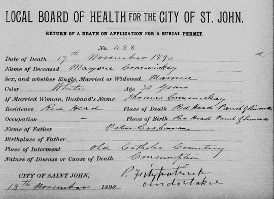 New Brunswick burial permit 1890